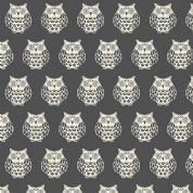 Papillon by Makower UK - 5160 - White Owls on Charcoal - 1763_S - Cotton Fabric